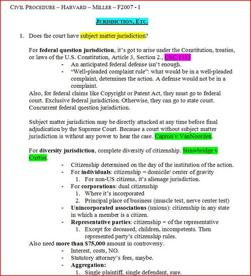 Product picture Civil Procedure Outline - Harvard - Law School