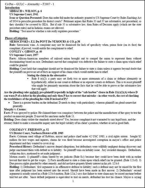 Product picture Civil Procedure Outline - GULC - Abernathy - F2008